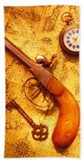 Old Gun On Old Map Beach Towel by Garry Gay