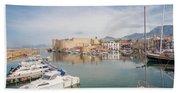 Old Harbour Of  Kyrenia, In Cyprus Beach Towel