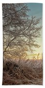 Old Harvester By The Birch Tree Beach Towel