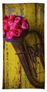 Old Horn And Roses On Door Beach Towel