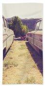 Old Junkyard Cars Chevy And Ford Utah Beach Towel