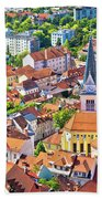 Old Ljubljana Cityscape Aerial View Beach Towel