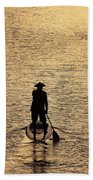Old Man Paddling Into The Sunset Beach Towel
