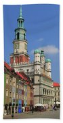 Old Marketplace And The Town Hall Poznan Poland Beach Towel
