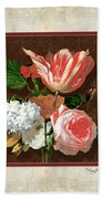 Old Masters Reimagined - Parrot Tulip Beach Towel