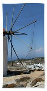 Old Mill In Greece Beach Towel