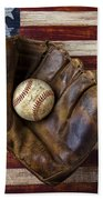 Old Mitt And Baseball Beach Towel by Garry Gay