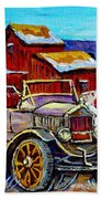 Old Model T Car Red Barns Canadian Winter Landscapes Outdoor Hockey Rink Paintings Carole Spandau Beach Towel