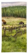 Old Montana Homestead Beach Towel by Sharon Foster