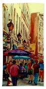 Old Montreal Cafes Beach Towel