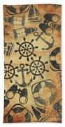Old Nautical Parchment Beach Sheet