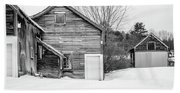 Old New England Barns In Winter Beach Sheet