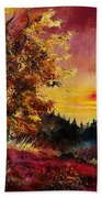 Old Oak At Sunset Beach Towel