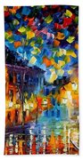 Old Part Of Town - Palette Knife Oil Painting On Canvas By Leonid Afremov Beach Towel