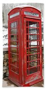 Old Phone Booth Beach Towel