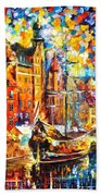 Old Port - Palette Knife Oil Painting On Canvas By Leonid Afremov Beach Towel