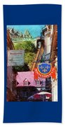 Old Quebec City Funicular Beach Towel