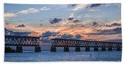 Old Rail Bridge At Florida Keys Beach Towel