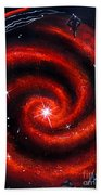 Old Red Spiral Galaxy Beach Towel