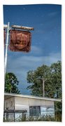 Old Rustic Fuel Station Sign In The Countryside Beach Towel