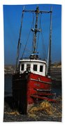 Old Rustic Red Fishing Boat Beach Towel