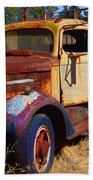 Old Rusting Flatbed Truck Beach Towel
