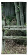 Old Rusty Wagon Wheels And Weathered Fence Beach Towel
