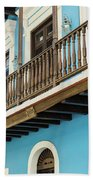 Old San Juan Houses In Historic Street In Puerto Rico Beach Towel
