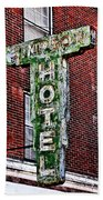 Old Simpson Hotel Sign Beach Towel