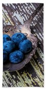 Old Spoon And Blueberries Beach Towel