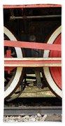 Old Steam Locomotive Iron Rusty Wheels Beach Towel