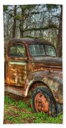 Old Still Art 1947 Ford Stakebed Pickup Truck Ar Beach Towel