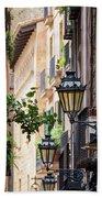 Old Street Light In Barcelona, Spain Beach Towel