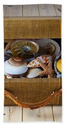 Old Suitcase Full Of Sea Shells Beach Towel by Garry Gay