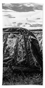 Old Tarred Boat On Holy Island 2 Beach Towel