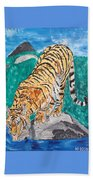 Old Tiger Drinking Beach Towel