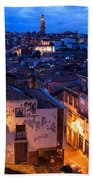 Old Town Of Porto In Portugal At Dusk Beach Towel