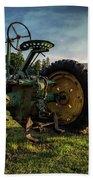 Old Tractor In The Field Outside Of Keene Nh Beach Towel by Edward Fielding