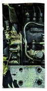 Old Tractor Weed Engine In Blue Beach Towel
