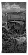 Old Truck Abandoned In The Grass In Black And White At The Ghost Town By Okaton South Dakota Beach Towel