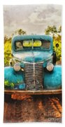Old Truck At The Winery Beach Sheet