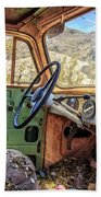 Old Truck Interior Nevada Desert Beach Towel by Edward Fielding