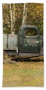 Old Truck With Potato Barrels Beach Towel