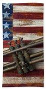 Old Trumpet On American Flag Beach Towel