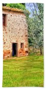 Old Villa And Olive Trees Beach Towel