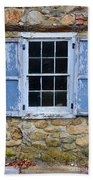 Old Village Window With Blue Shutters Beach Towel