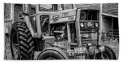 Old Vintage Tractor On A Farm In New Hampshire Square Beach Towel