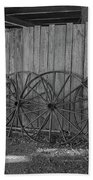 Old Wagon Wheels Black And White Beach Towel