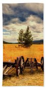 Old Wagons In Meadow Beach Towel