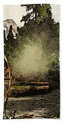 Old Watermill In The Forest Beach Towel